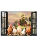 Rooster Chickens By The Window Canvas Prints #V