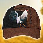 Rooster leather custom name Classic Cap #KV
