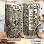 Skull Bronze Style custom name Steel Tumbler #KV