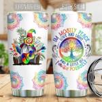 Tie Dye Gnome Hippie Peace And Love custom name Steel Tumbler #KV