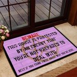 Witch Beware this house is protected by an energy Door mat #KV