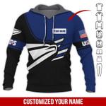 USPS Black White Symbol Custom Name AOP T-shirt Hoodie Zip up