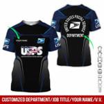 Custom name & department USPS postal service navy black unisex t-shirt