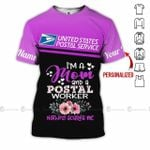 I am a mom and postal worker USPS woman pink purple floral unisex t-shirt