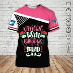 Official postal Christmas squad USPS postal worker girl pink black unisex t-shirt 3d