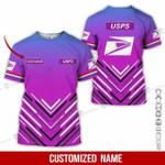 Custom name USPS postal worker woman pink unisex t-shirt 3d