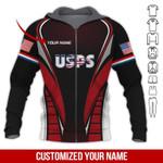 USPS Black Red Cool Custom Name AOP T-shirt Hoodie Zip up