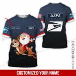 Custom name Christmas Santa with reindeer USPS postal service unisex t-shirt 3d