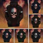 Dark American Flag Skull Custom Name Hoodie 3D