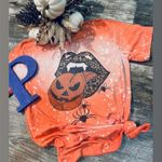Pumpkin Leopard Tongue Halloween Bleached T-Shirt 2D #KV