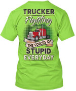 Truck Driver Fighting The Forces Unisex T-Shirt 2D #KV