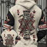 Poker King Skull AOP T-shirt Hoodie Zip up #KV