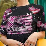 Jeep Pink Camo Flag AOP T-shirt Hoodie Zip up Leggings