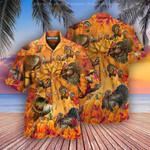 Happy Thanksgiving Turkey orange Hawaiian Aloha Shirts