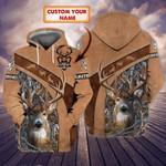 Custom name Deer hunting brown leather & camo hoodie 3d