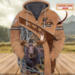 Custom name Moose hunting brown leather & camo hoodie 3d