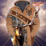Custom name Elk hunting brown leather & camo hoodie 3d