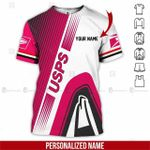 Custom name USPS postal worker woman pink white unisex t-shirt 3d