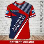 Custom name USPS postal worker red navy unisex t-shirt 3d