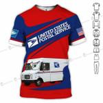 USPS postal service truck red navy unisex t-shirt 3d