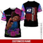 Custom name black girl USPS postal service flag pink unisex t-shirt 3d