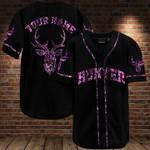 Custom name Deer hunter purple black camo Baseball jersey