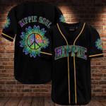 Black hippie soul kaleidoscope peace sign flower Baseball jersey