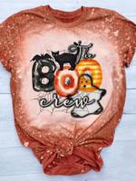 The Boo Crew Black Cat Bleached T-shirt 2D #Dh