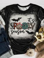 Its Spooky Season Halloween Bleached T-shirt 2D #Dh