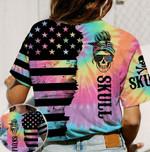 Sugar Skull Tie Dye American Flag Unisex AOP T-Shirt 3D #KV