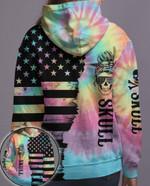 Sugar Skull Tie Dye American Flag hoodie 3d #KV