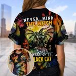 Nevermind Witch Beware Of The Black Cat Halloween AOP T-Shirt #Kv