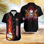 Flame Baseball Skull American Flag Hawaiian Shirts #DH