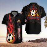 American Flag Soccer Flame Hawaiian Shirts #Dh