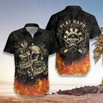 In Dart We Trust Flame Skull Hawaiian Aloha Shirts #DH