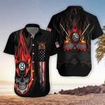 Flame Skull Billiards Hawaiian Aloha Shirts #DH