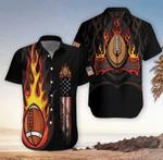 Flame Football American Flag Hawaiian Shirts #Dh