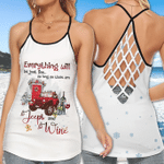 Christmas Jeep - Everything will be just fine as long as there are Jeep & Wine Criss Cross Tank Top - Legging 3D