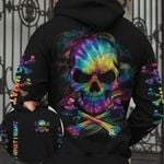Skull Bone Tie Dye I Do What I Want AOP T-shirt Hoodie Zip up