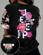 Jeep Girl Flower Unisex AOP T-Shirt 3D #KV