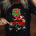 Awesome Jeep balloon Merry Christmas black red unisex t-shirt