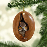 Owl in nest - Christmas oval hanging ornament