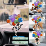 Dog with colorful balloon so cute car hanging ornament