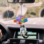Cat with colorful balloons so cute car hanging ornament