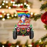 Jeep Santa LGBT Christmas Ornament