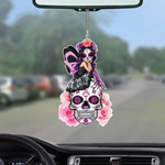 Skull Girl Breast Cancer Car Hanging Ornament