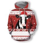 Cow Christmas Santa AOP T-shirt Hoodie Zip up