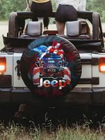 Jeep girl tie dye American flag spare tire cover