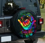 Jeep life tie dye wave hand spare tire cover