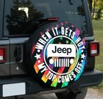 When it gets hot my top comes off Jeep girl spare tire cover